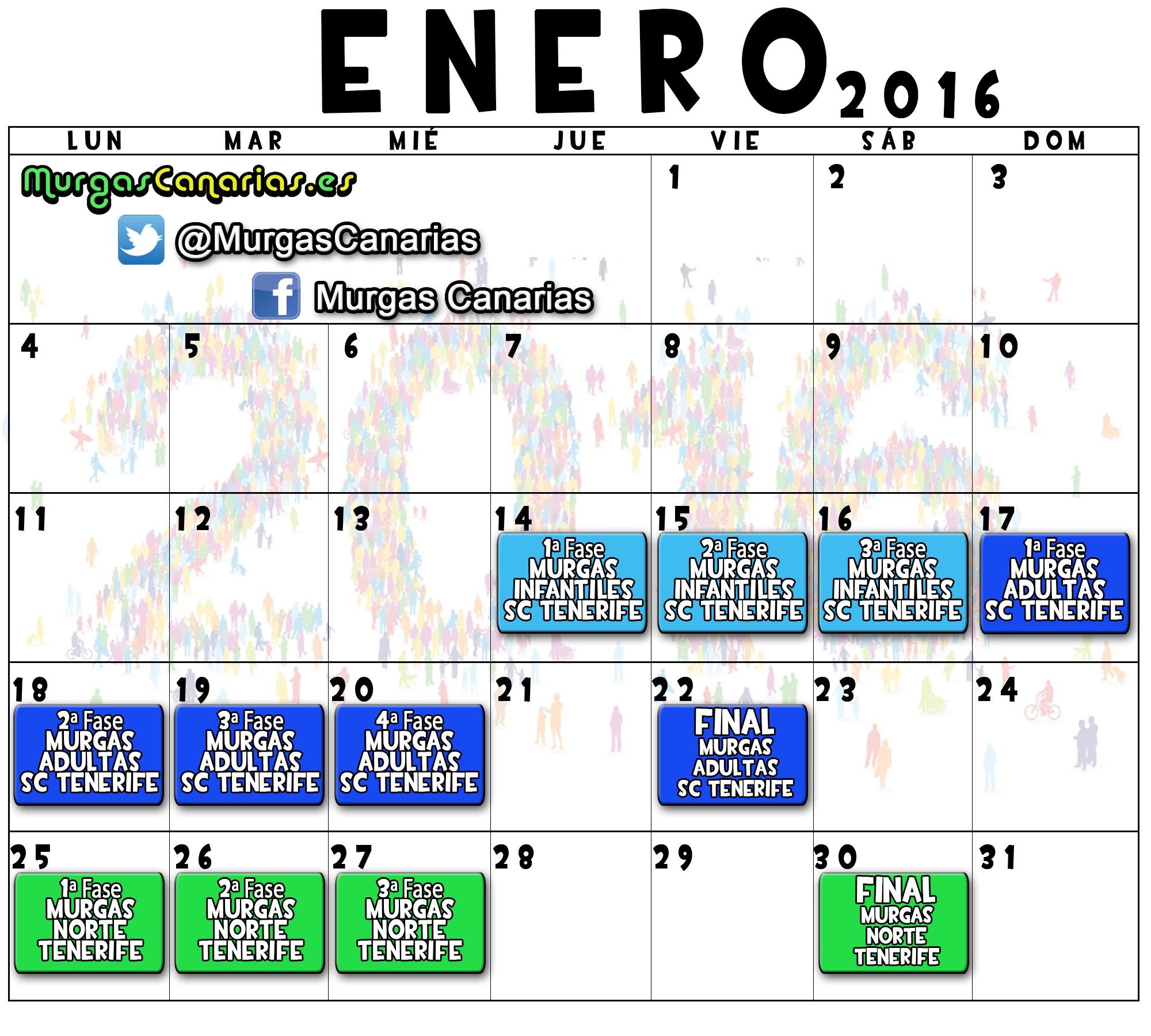 calendario 2016 enero