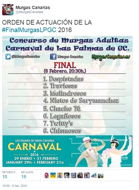2016-03-21 00_13_52-Murgas Canarias en Twitter_ _ORDEN DE ACTUACIÓN DE LA #FinalMurgasLPGC 2016 http
